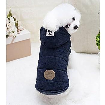 Vêtements pour Chien,Hot Puppy Pet Dog Cat Vêtements Vêtements Sweat À Capuche Hiver Chaud Pull Manteau Costume Vêtements,Manteau Habits pour Chien (L, Marine)