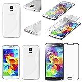 ebestStar - Cover Compatibile con Samsung S5 G900F, Galaxy S5 New G903F Neo Custodia Protezione S-Line Silicone Gel Morbida Sottile, Trasparente +Vetro Temperato [Apparecchio: 142x72.5x8.1mm 5.1']