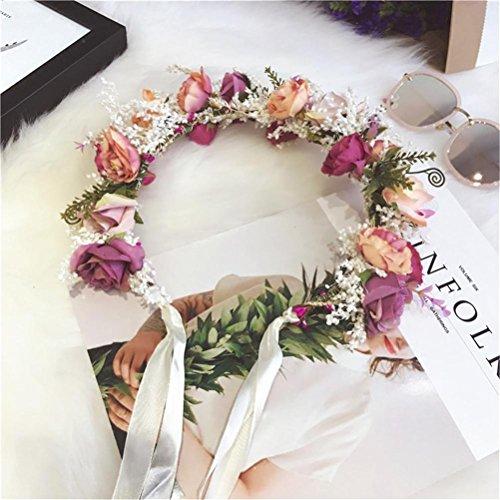 BGDRE® Girlande Bridemaid Blume Braut Kranz Urlaub Künstliche Blume Rattan Kopf Kranz für Haar Blumen Braut Haar Zubehör Hochzeit Blume Kopfstück