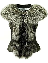 30270d6d7962a6 DX-Exclusive wear Damen Lederweste,Pelzweste/Gilet, mit Fuchs-Pelz Weste