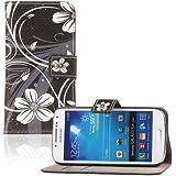 tinxi® Kunstleder Tasche für Samsung Galaxy S4 mini i9190 Schutzhülle Flipcase Case Cover Standfunktion mit Karten Slot weiße Blume in Schwarz