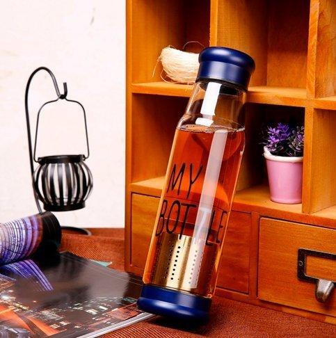 ShopAIS 420 Ml Green Tea Bottle With A Bottom Infuser Cum Filter - Blue