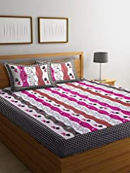 Boutique Bedding Queen Size Cotton 250TC Bedsheet with 2 Pillow Covers (Blue and Pink, 235x225 cm)