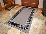 Grey Black Greek Key Non Slip Machine Washable Rug. Available in 6 Sizes (80cm x 150cm)