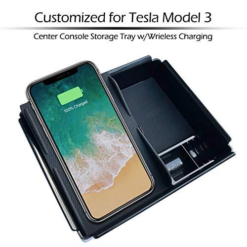 BMZX Tesla Model 3 Kabelloses Ladegerät Wireless charger Mittelkonsole Armlehne Aufbewahrungsbox mit Wireless Charging für XS/XR/X/8/8 Plus Samsung S5/S9/S9/S8/S8 +/S7/Note
