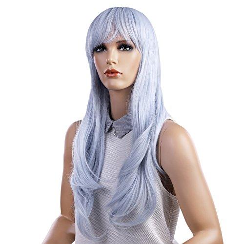 lau Perücke Wig lang lockig voll mit schrägem Pony synthetische Haare Haarersatz für Damen WWG06BU (Billig Lange Perücken)