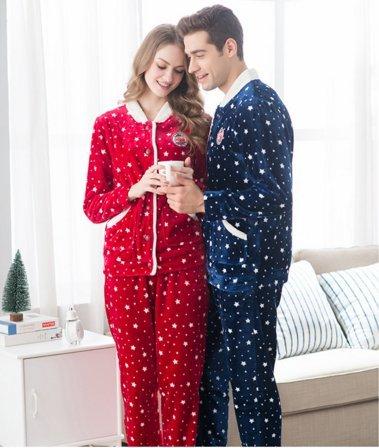 Ohmais unisexe femme homme 2 pi ces traditionnels ensemble pyjama avec pantalon costume for Pyjama femme chaud