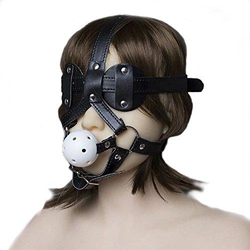 Männliche Sex Leder Harness (Duzzy Kopf Maske Panel Ball Gag - Davidsource Abschließbare Leder Kopf Harness mit Breathable Gag Ball mit Löchern Maske-Adult Spiel Sex-Spielzeug)