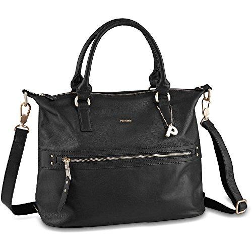 PICARD Damentasche Moa Rindsleder Metall-Details Metallfüße Reißverschluss verschiedene Farben Schwarz