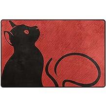 Benni giry chat noir dans le domaine de pluie Super Soft Tapis Polyester Grand moderne de salle de bain antidérapant Tapis pour chambre à coucher salon hall Dîner Table Home Decor 78,7x 50,8cm, 31x 20pouces, Polyester, multicolore, 31 x 20 inch