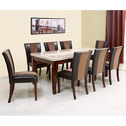 @home by Nilkamal Jenn Eight Seater Dining Table Set (Melamine Finish, Beige)