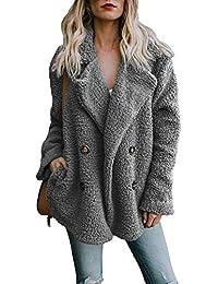 OranDesigne Damen Mantel Plüsch Jacke Revers Faux Wolle Warm Winter Outwear  Stylische Zweireiher Übergroße Coat mit 2743a2a049