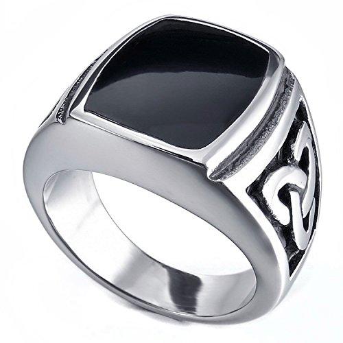 Mens Jewellery MENDINO con motivo a nodo celtico Triquetra, in argento sterling, modello a sigillo, in stile Vintage, con anello in acciaio INOX, colore: nero, acciaio inossidabile, 19, cod. JRG0041SI-5 UK