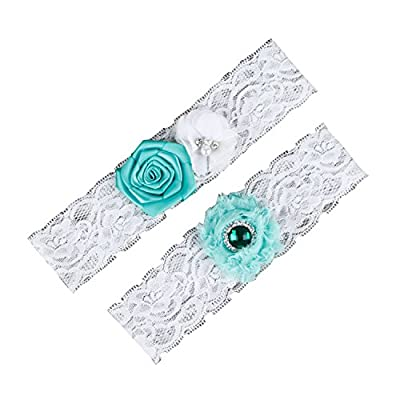 Handmade Women's 2-piece Rosette Flowers Lace Wedding Bridal Garters
