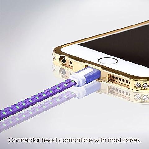 Cable Lightning para Apple iPhone 6s/6/5, iPad, iPod - 2m, Morado, Plano - Cordon Cargador de Carga y Sincronización de datos - USB Syncwire de SWISS-QA - Devolución del Dinero Garantizad
