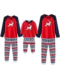 Pijamas Familiares a Juego de Navidad Ciervos Impresos Madre Padre Niño Moda Homewear Ropa de Dormir Ropa de Dormir 2 Piezas Conjunto de Ropa
