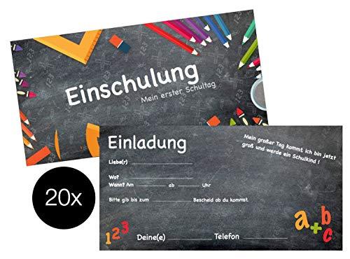 TK Gruppe Timo Klingler 20er Einladungskarten Einschulung Karten Schulanfang Schuleinführung Einladungen 1.Schultag Schulbeginn Schule Erster Schultag für Kinder Junge und Mädchen