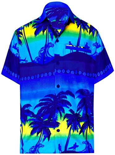 LA LEELA | Funky Hawaiihemd | Herren | Kurzarm | Front-Tasche | Hawaii-Print | Strand Palmen Meer Blau_W347 L - Brustumfang (in cms) : 111-121 -