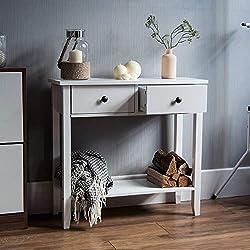 Vida Designs Windsor 2 Drawer Console Table with Shelf, White Wooden Hallway Living Room Bedroom Dressing Dresser Desk Furniture