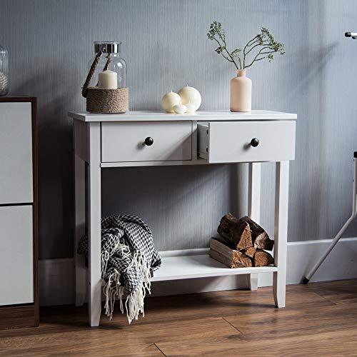 Home Discount Windsor Table Console avec 2 tiroirs, Couloir, Salon, Chambre à Coucher, Bois, Blanc, Armoire, Meuble