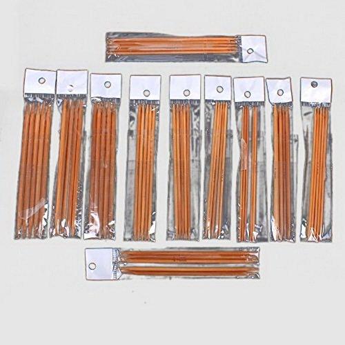 FR-SSSC Paquet 11 DE 13cm Double Pointed carbonisšŠES Bambou Kits Aiguilles š€ Tricoter 5 Sets (Needle Head: 2mm - 5mm)