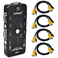 ieGeek KVM Switch 4-Port USB VGA KVM Switch Box Adapter for PC Monitor Keyboard Mouse Control with 4 VGA Cables, Resolution up to 1920x1440 USB2.0 (4 Port)