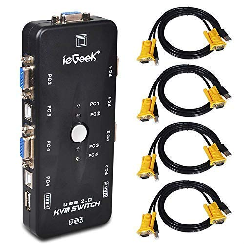 ieGeek KVM Umschalter 4 Port USB KVM Switch Box mit 4 VGA Kabel für PCs Maus Drucker und Tastatur - Schwarz -