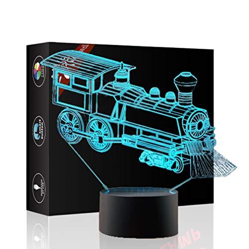 Zug Geschenk Nachtlicht 3D neben Tischlampe Illusion, Jawell 7 Farben ändern Touch Switch Schreibtisch Dekoration Lampen Geburtstag Weihnachtsgeschenk mit Acryl Flat & ABS Base & USB Kabel