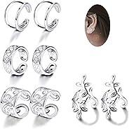 JOERICA 4 Pairs Silver Ear Cuff Earrings for Women Girls Clip on Fake Lip Cartilage Tragus Helix Body Jewelry