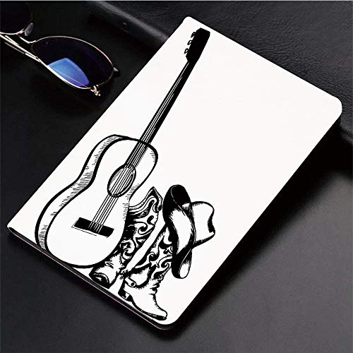 Kompatibel mit 3D-gedruckter iPad 9.7-Hülle,Western, Country-Musik-Thema mit Cowboy-Schuh-Hut und Gitarre,Leichtes Anti-Scratch-Shell Auto Sleep/Wake,Rückseite Schutzabdeckung iPad9.7