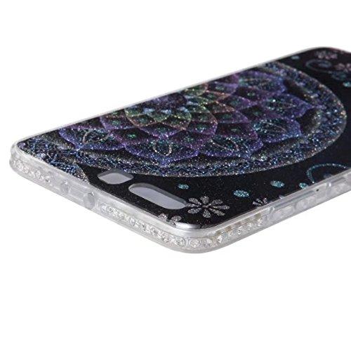 Bling Sparkle Glitter Rhinestone Resin Diamant Schützende Rückseite Cover Case Soft TPU Shell Stoßfänger [Shock Absorbtion] für Huawei P10 Plus ( Color : E ) C