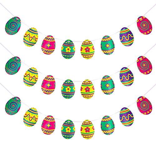 Chuangdi 3 set banner di pasqua decorazione per appendere l'uovo colorato ghirlanda di carta decorazioni pasquali favori di decorazioni per la casa, 8 modello