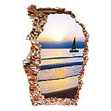 Winhappyhome mare in barca al tramonto Wall Stickers 3D rimovibili per Camera da letto Soggiorno Sfondo Oggettistica per la casa decalcomanie