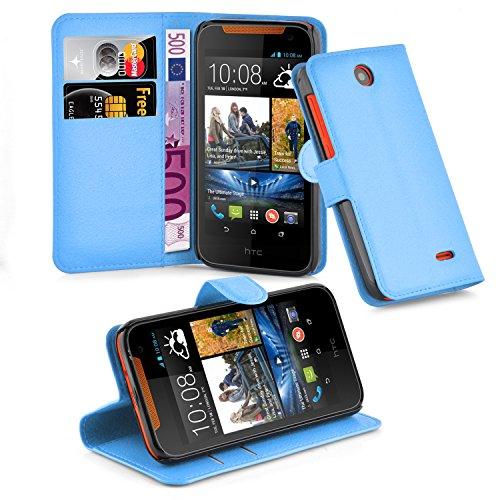 Cadorabo Hülle für HTC Desire 310 Hülle in Pastel blau Handyhülle mit Kartenfach und Standfunktion Case Cover Schutzhülle Etui Tasche Book Klapp Style Pastell-Blau