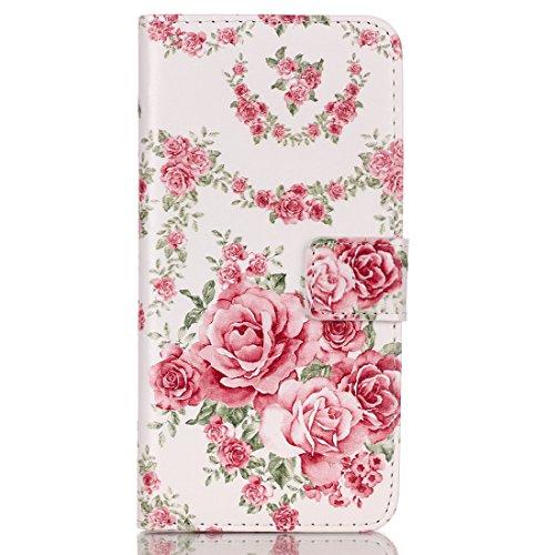 iPhone 6S Hülle, iPhone 6 Hülle, iPhone 6 / 6S PU Leder Relief Hülle Tasche Handyhülle, iPhone 6 / 6S Ledertasche im Bookstyle Brieftasche Flip Case mit Silikon Backcase, SainCat Premium Design Luxus  Rosa Rosen