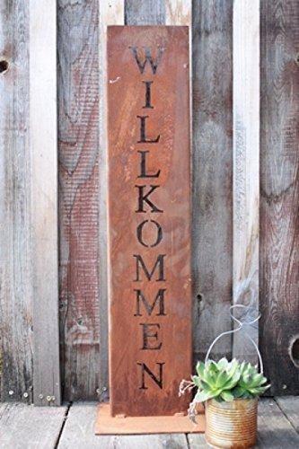 Willkommen Ständer, Rost Schild, Deko für Hauseingang in Edelrost
