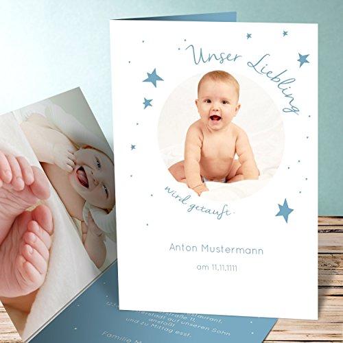 Muster Einladung Taufe, Baby Star 10 Karten, Vertikale Klappkarte 105x148  Inkl. Weiße Umschläge, Blau