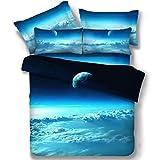 SQL Stern-Mond-3D-Universum eine Familie von vier Einzelbettdecke Bettwäsche Doppelbett Bettwäsche . king