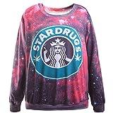 THENICE Donna Hip-hop manica lunga T-shirt Felpe (Starbucks)
