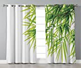 Thermal Insulated Blackout Grommet Window Curtains,Bamboo House Decor,Bamboo Leaf Illustration Icon for Wellbeing Health Fresh Purity Tranquil Art Print,Green White,2 Panel Set Window Drapes,for Livin Amazon deals