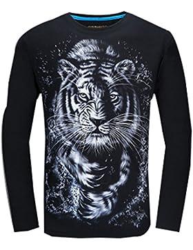 WTUS 3D León Camiseta de manga larga de moda casuales Endurance Aumentar para Hombre
