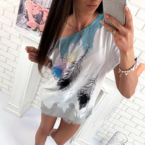 KanLin Damen Feather Print Shirt,Lässiges loses T-Shirt Blau