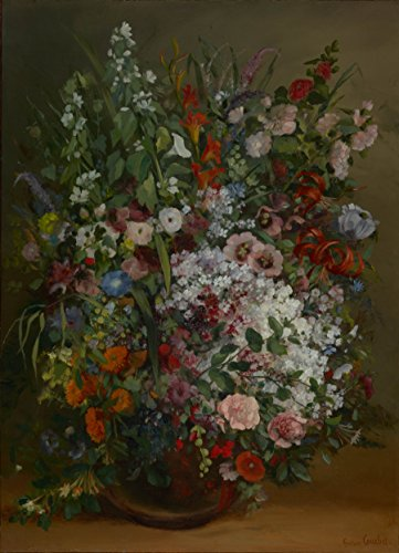 Matterden 'Bouquet of Flowers in a Vase by Gustave Courbet French' Framed Poster (Small, FEPS7613)