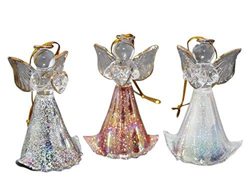 Trois Anges Multicolore de verre irisé * dans un coffret cadeau *