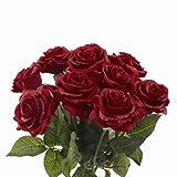 cherrboll 10 Künstliche Blumen Real Touch Bouquet Fake Floralen Look Wie frisch Rose bouqets Braut für Hochzeit Party Home Garten Decor dunkelrot