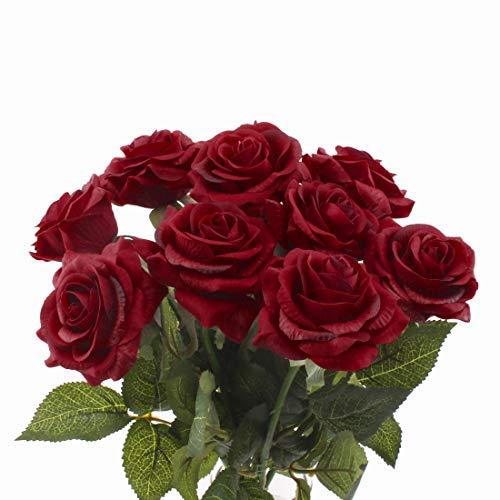 cherrboll 100Künstliche Blumen Real Touch Bouquet Fake Floralen Look Wie frisch Rose bouqets Braut für Hochzeit Party Home Garten Decor