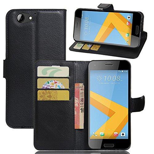 KM-WEN® Schutzhülle für HTC One A9S Bookstyle Litchi Muster Magnetverschluss PU Leder Wallet Case Flip Cover Hülle Tasche Schutzhülle mit Standfunktion Kartenfächer für HTC One A9S Schwarz