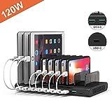 Alxum 120 W 10 Porte Stazione di Ricarica Multi iPad con divisori Staccabili, Caricatore USB Multiplo Include Due Porte QC 3.0 da 18 W e Una Porta USB C da 5 V 3 A, Nero