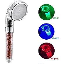 DELIPOP Mango Ducha Alcachofa de la Ducha 3 Colores Cambio de Temperatura Control Spa Filtro Grifo ABS Cromado Para Baño
