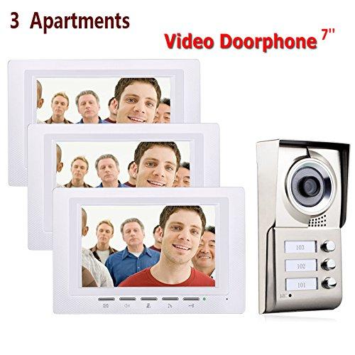 LGFB 7inch 3 Wohnungen Video Tür Telefon Intercom System IR-Cut HD 1000TVL Kamera Türklingel Kamera mit 3 Taste 3 Monitor Ein Ir-system
